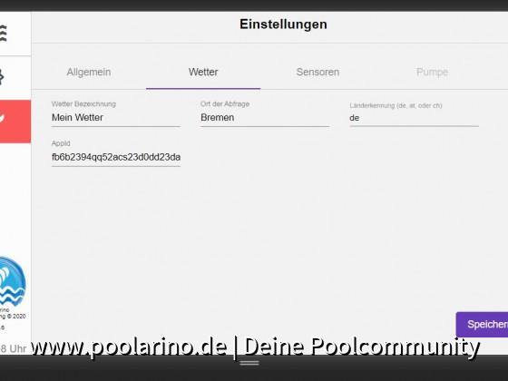 Poolarino Poolsteuerung - Die Wettereinstellungen