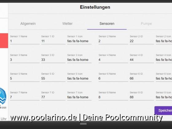 Poolarino Poolsteuerung - Die Konfiguration der Temperatursensoren