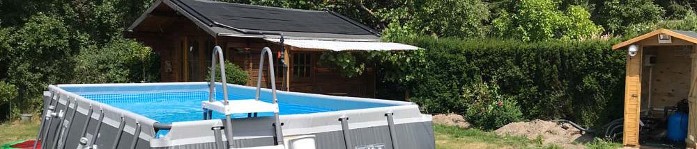 Intex XTR Ultra Quadra Frame Pool inside our garden