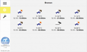 View of the new weather forecast inside the poolcontrol